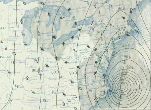 9AM surface weather map of 1938 hurricane on September 21st; courtesy NOAA/NWS central library data imaging project