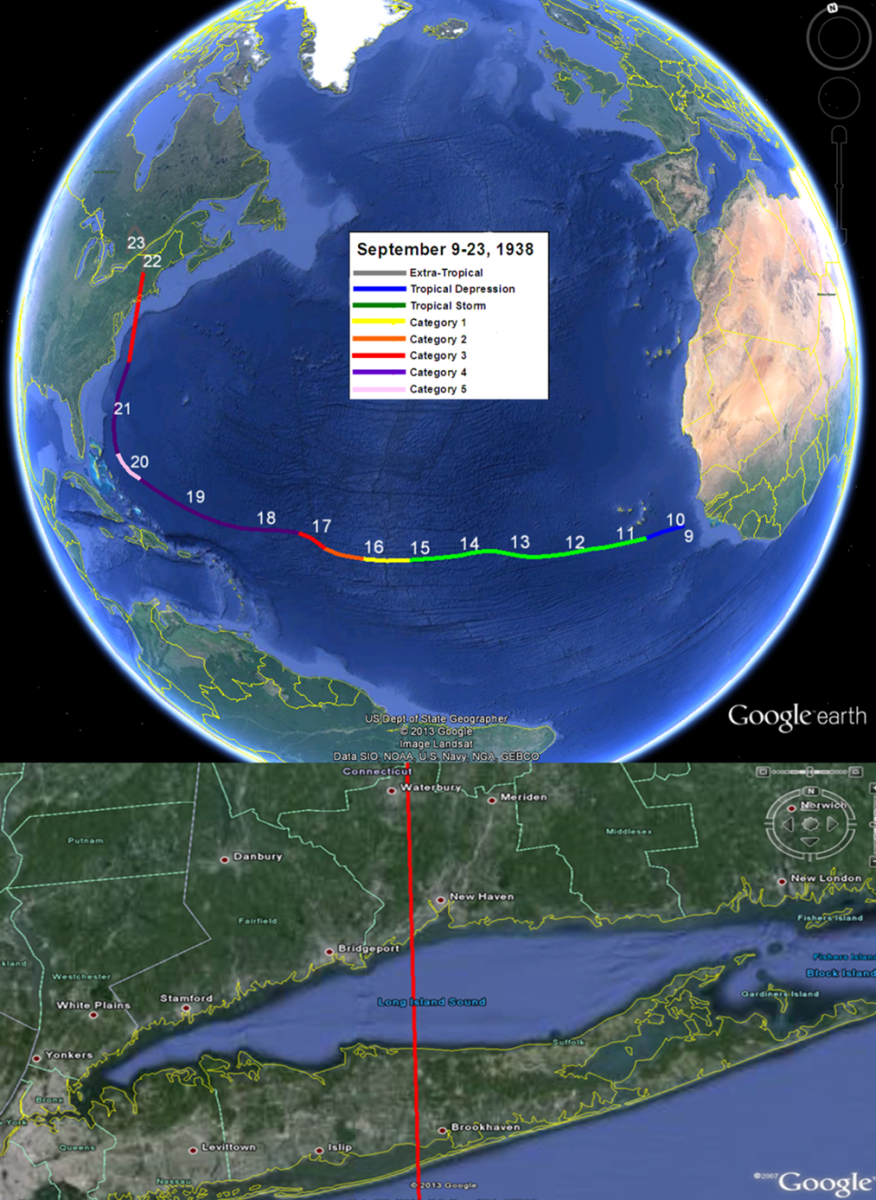 Track data courtesy of the National Hurricane Center: Hurricane Research Division: Re-analysis Project