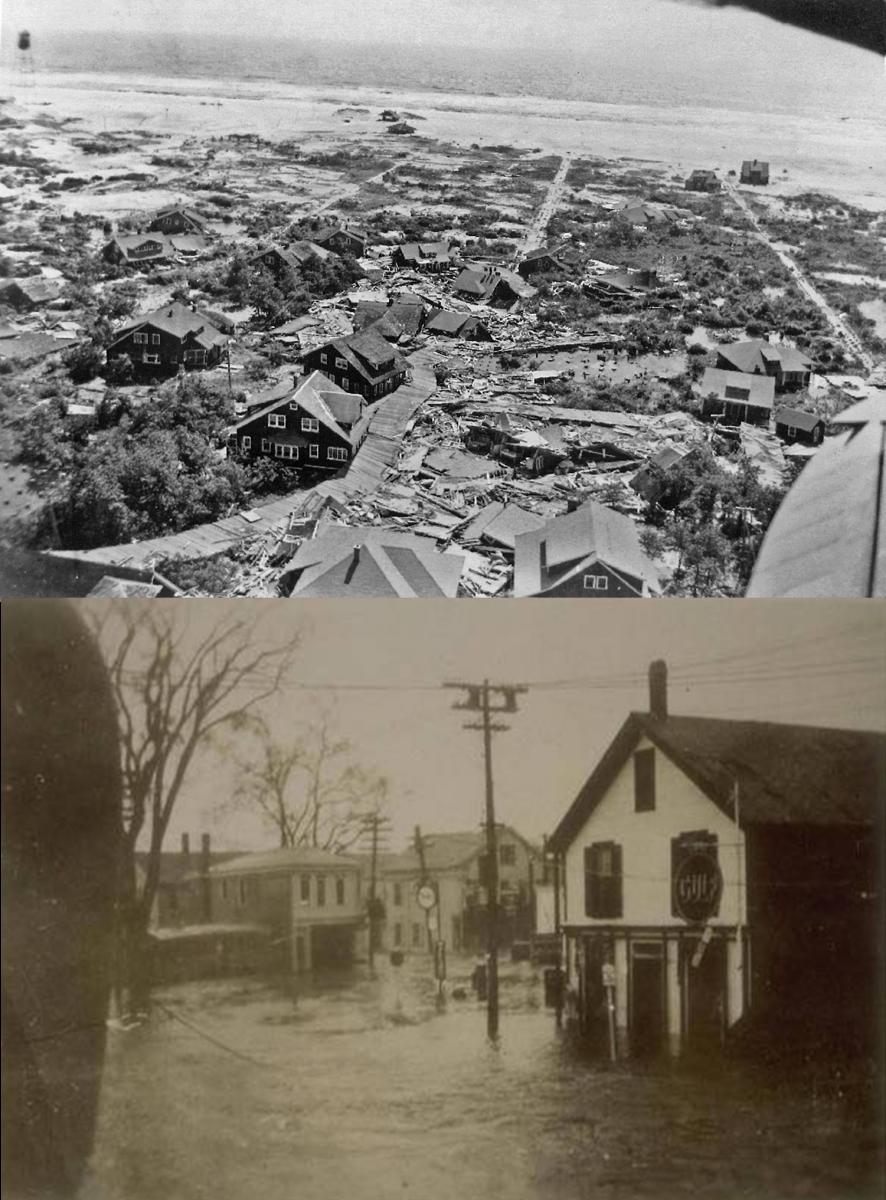 Saltaire, NY flooding damage (top); Mystic, CT flooding damage (bottom)