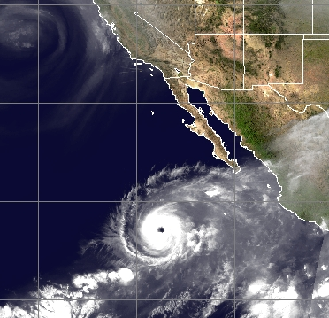 The latest IR image of Hurricane Rosa features a well-defined eye and an overall very symmetrical look to the system; courtesy NOAA, University of Wisconsin/CIMMS