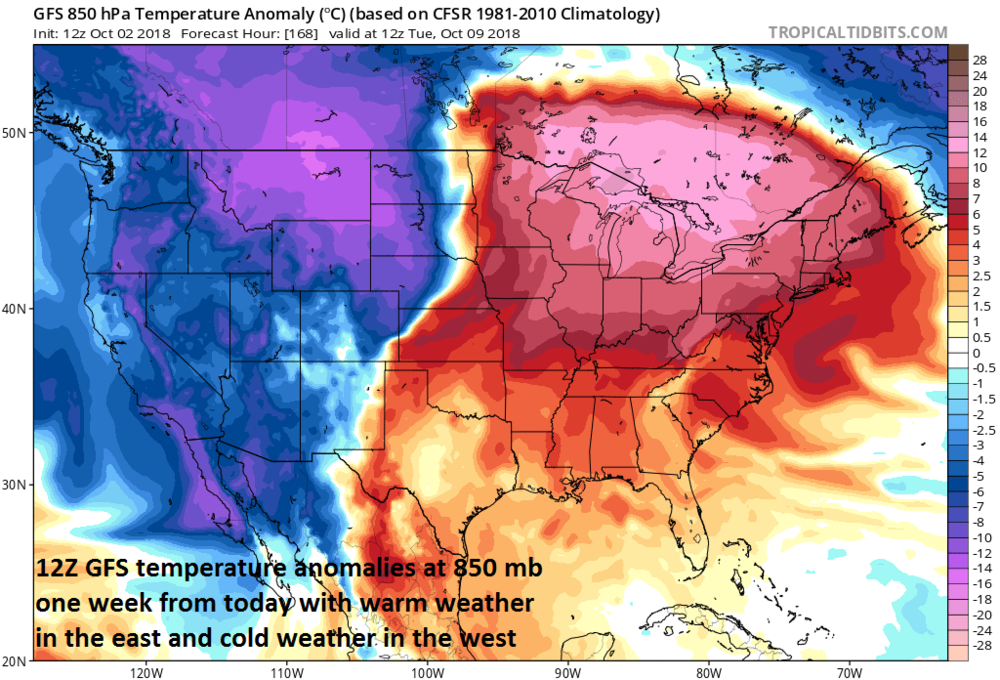 12Z GFS forecast map of 850 mb temperature anomalies for Tuesday morning, October 9th; courtesy NOAA/EMC, tropicaltidbits.com