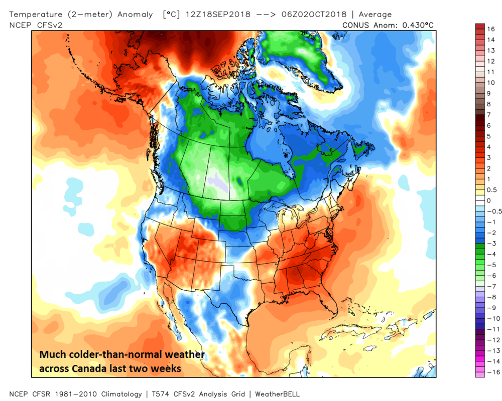 Two-meter temperature anomalies for North America during the past two weeks; courtesy NOAA CFSv2, Weather Bell Analytics