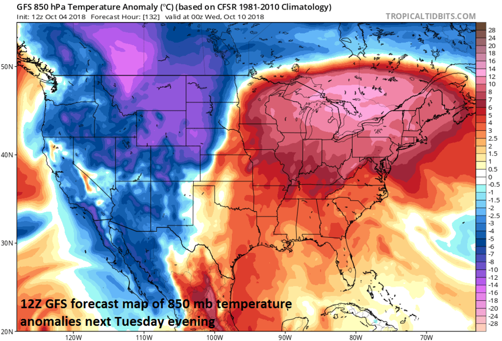 Warmer-than-normal conditions dominate next week in the eastern US at the same time a colder-than-normal weather sets up in the western US; courtesy NOAA, tropicaltidbits.com