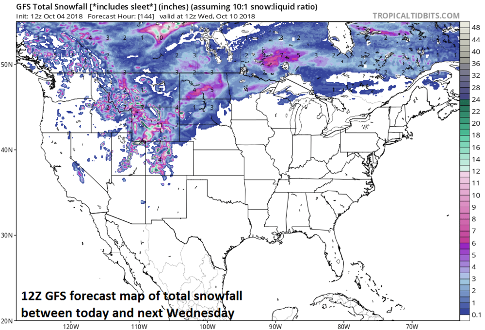Snow may pile up next week in some of the higher elevation locations of the western US and Northern Plains; courtesy NOAA, tropicaltidbits.com