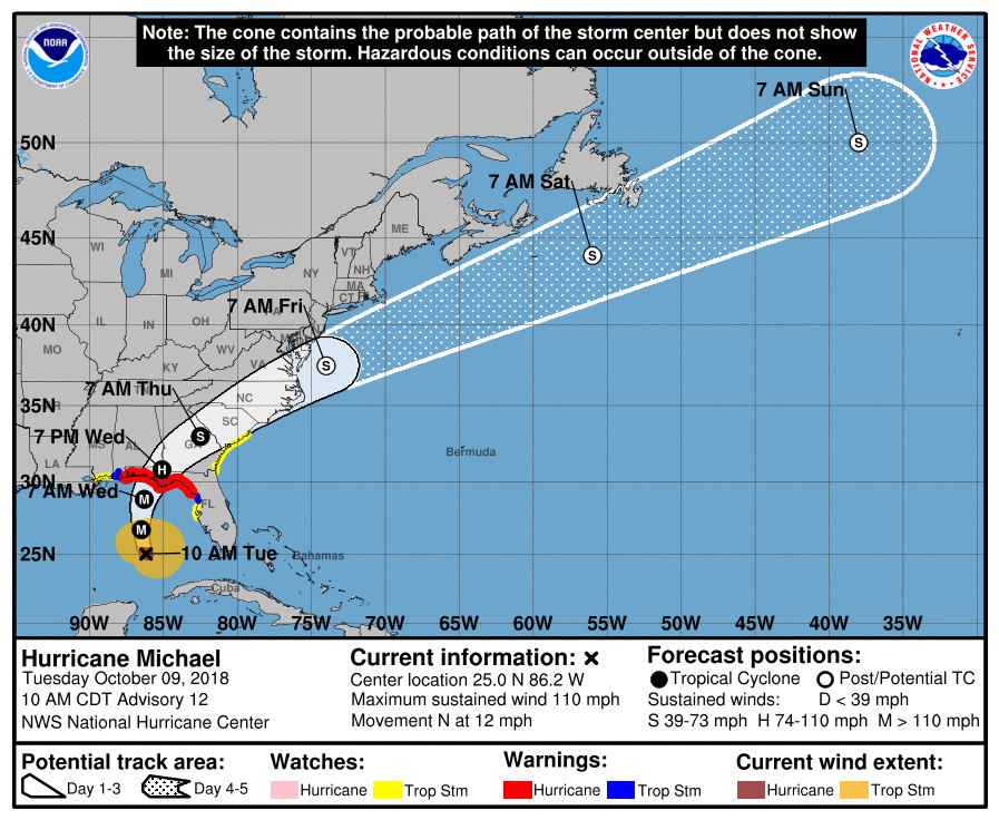 The latest storm track of Hurricane Michael as predicted by NOAA's National Hurricane Center where H=Hurricane, M=Major and S=Tropical Storm.