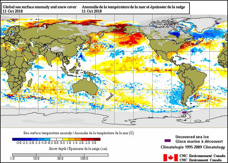 The current sea surface temperature anomaly pattern features a large and expanding area of warmer-than-normal conditions across the equatorial Pacific Ocean and warmer-than-normal water in the northern Pacific; map courtesy CMC Environment Canada