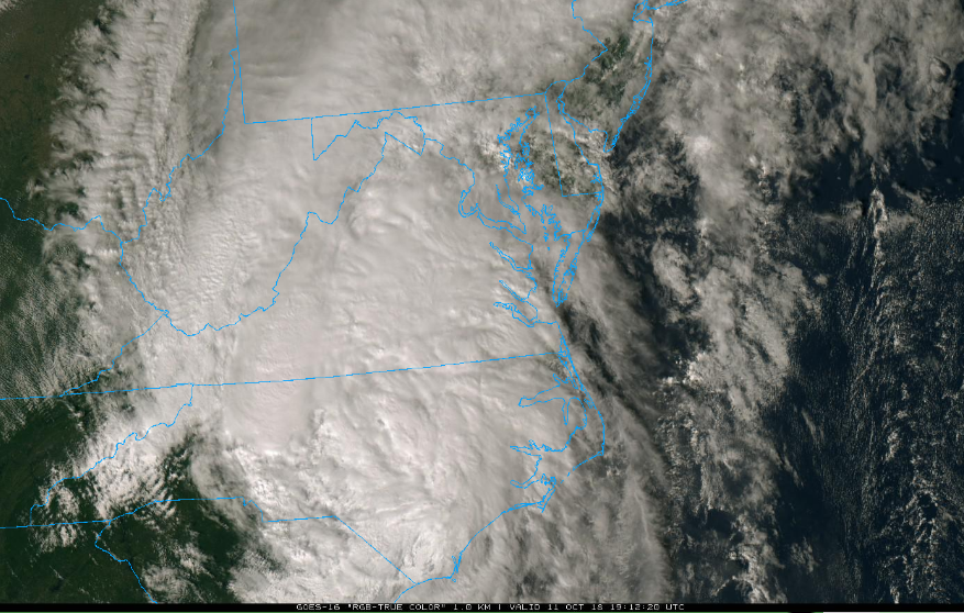 Latest satellite image of Tropical Storm Michael; courtesy NOAA
