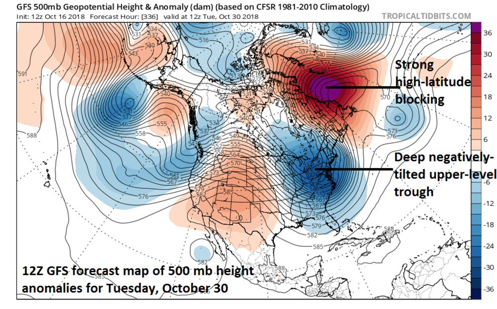 12Z GFS predicts strong high-latitude blocking at the end of the month along with a deep upper-level trough over the eastern US; courtesy NOAA, tropicaltidbits.com