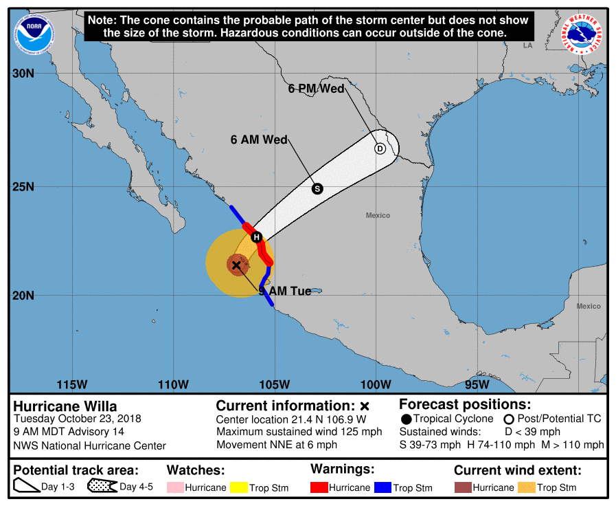 Hurricane Willa will continue to weaken as it moves to the northeast over the next couple of days; map courtesy NOAA/NHC