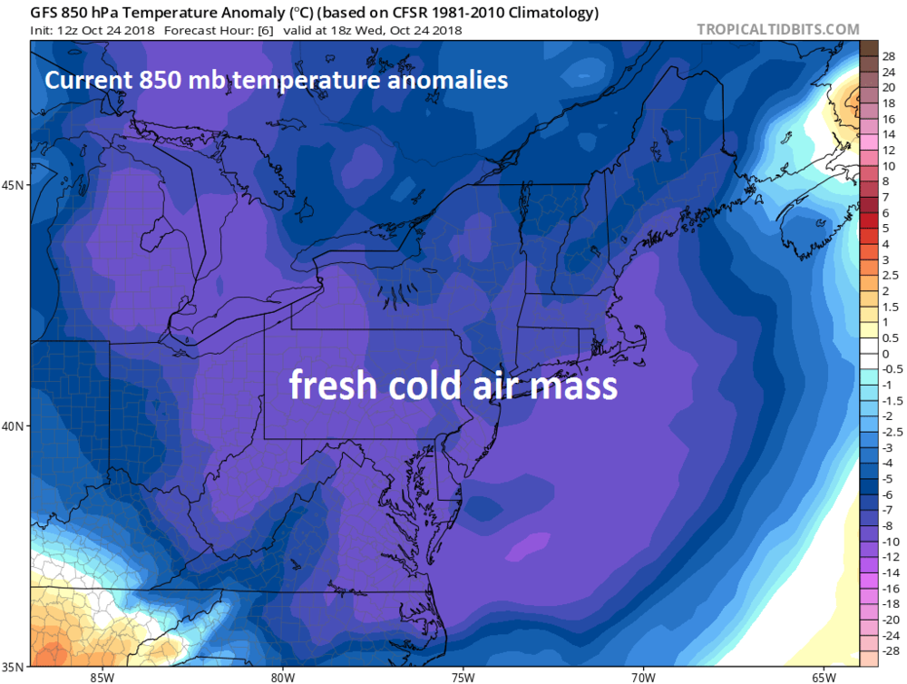 Fresh cold air is now in place across the Mid-Atlantic/Northeast US and this air mass will act as an overrunning surface at the end of the week as very moist and warm air pushes in from the Gulf of Mexico; courtesy NOAA, tropicaltidbits.com