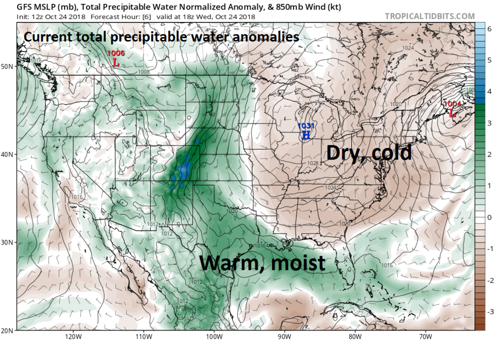 Very moist and warm air is currently in place over the Gulf of Mexico - some of which from Hurricane Willa - and this air mass will be forced up and over the dry, cold air in place across the Mid-Atlantic/Northeast US at the end of the week; courtesy NOAA, tropicaltidbits.com