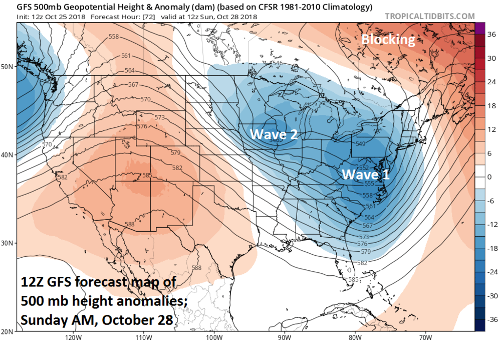 "12Z GFS forecast map of 500 mb height anomalies on Sunday morning featuring ""blocking"" across SE Canada and two upper-level waves of energy over the eastern half of the US. Courtesy NOAA/EMC, tropicaltidbits.com"