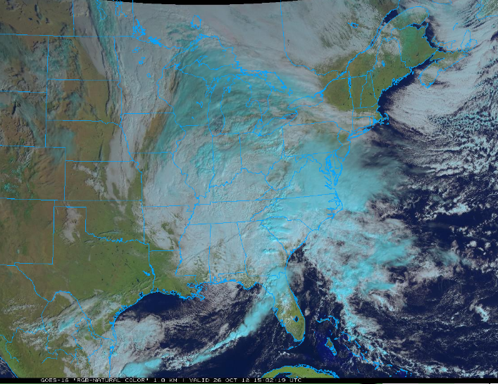 Latest satellite image features an intensifying storm system in the eastern US; courtesy NOAA/GOES-16