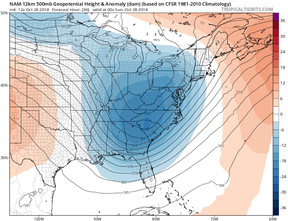 12Z NAM forecast map of 500 mb height anomalies for Saturday evening with deep upper-level trough over the Southeast US and a second (weaker) system over the Northern Plains; courtesy NOAA/EMC, tropicaltidbits.com