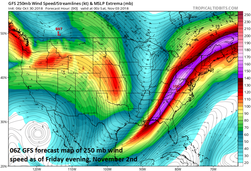 A powerful jet streak will contribute to a large-scale precipitation event across much of the nation during the next few days; courtesy NOAA/EMC, tropicaltidbits.com