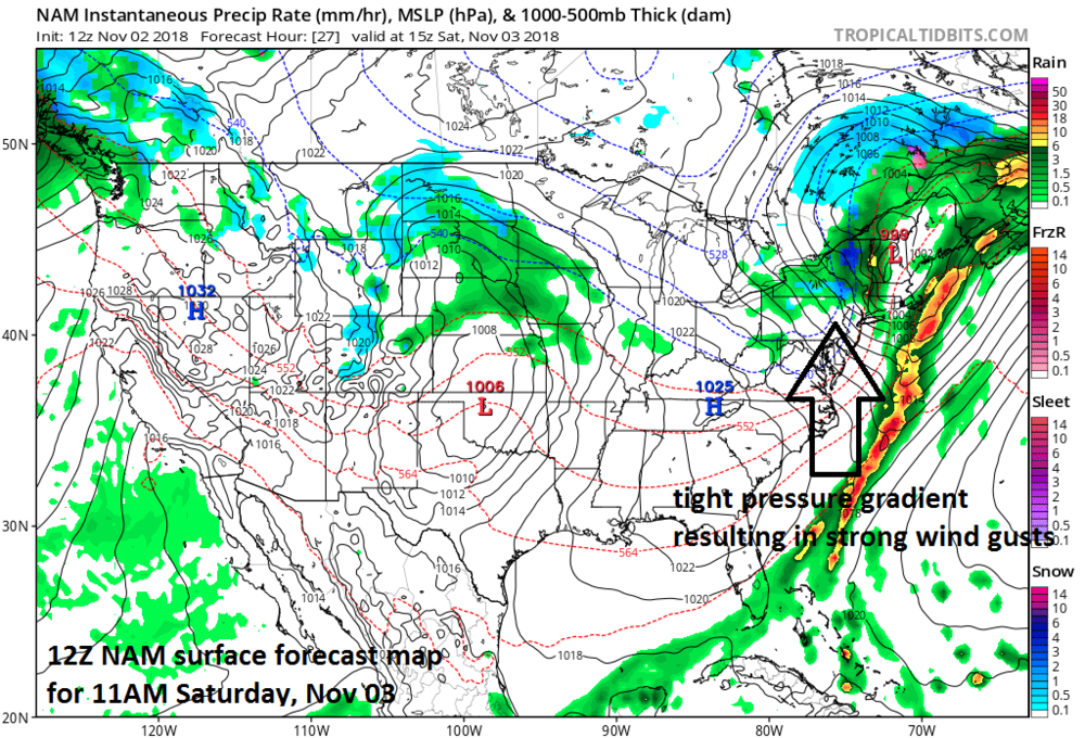 """A tight pressure gradient (indicated by """"close together"""" isobars=black lines) on Saturday between the departing low pressure system and building high pressure will result in 50+ mph wind gusts in parts of the I-95 corridor; courtesy NOAA/EMC, tropicaltidbits.com"""