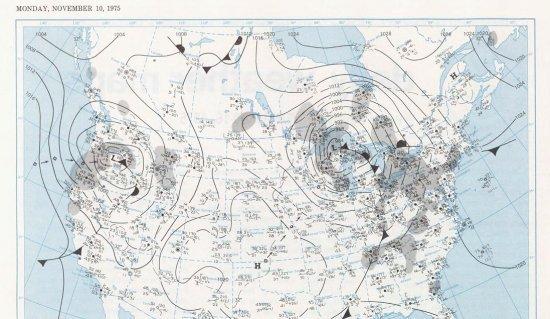 Surface map on November 10, 1975; courtesy National Weather Service
