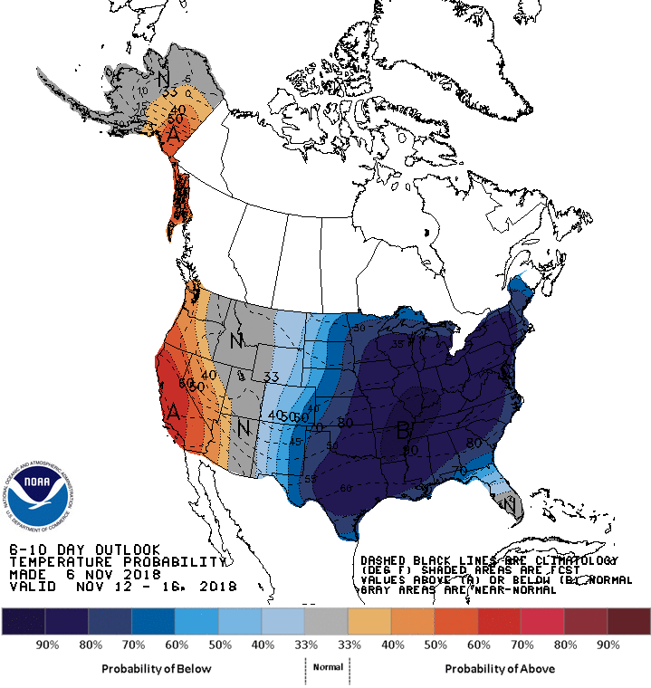 NOAA's 6-10 day outlook for temperature probabilities with an extremely high chance of colder-than-normal conditions across the eastern half of the nation