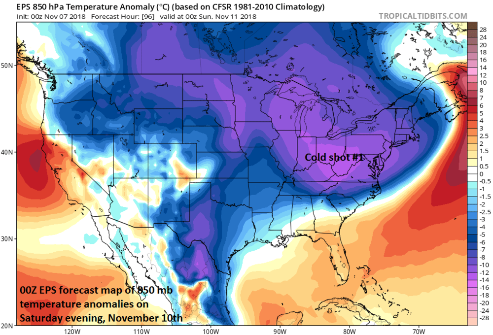 Cold shot #1 arrives for the weekend following a rainy Friday; courtesy ECMWF, tropicaltidbits.com