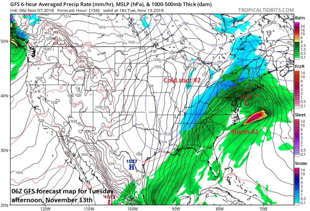 Storm #2 to be followed by cold shot #2; courtesy NOAA/EMC, tropicaltidbits.com