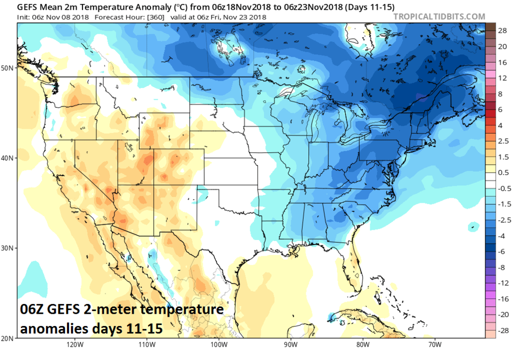 06Z GEFS 2-meter temperature anomalies averaged out over days 11-15; courtesy NOAA/EMC, tropicaltidbits.com