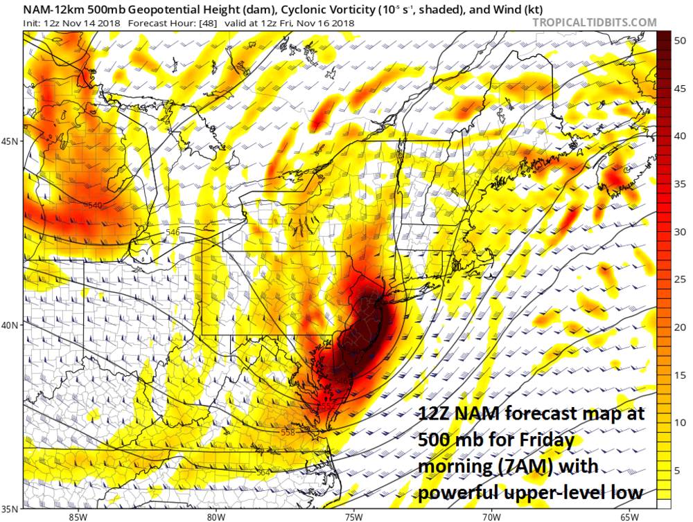 12Z NAM forecast map at the 500-mb level for Friday morning with a powerful upper-level low centered over New Jersey; courtesy NOAA/EMC, tropicaltidbits.com