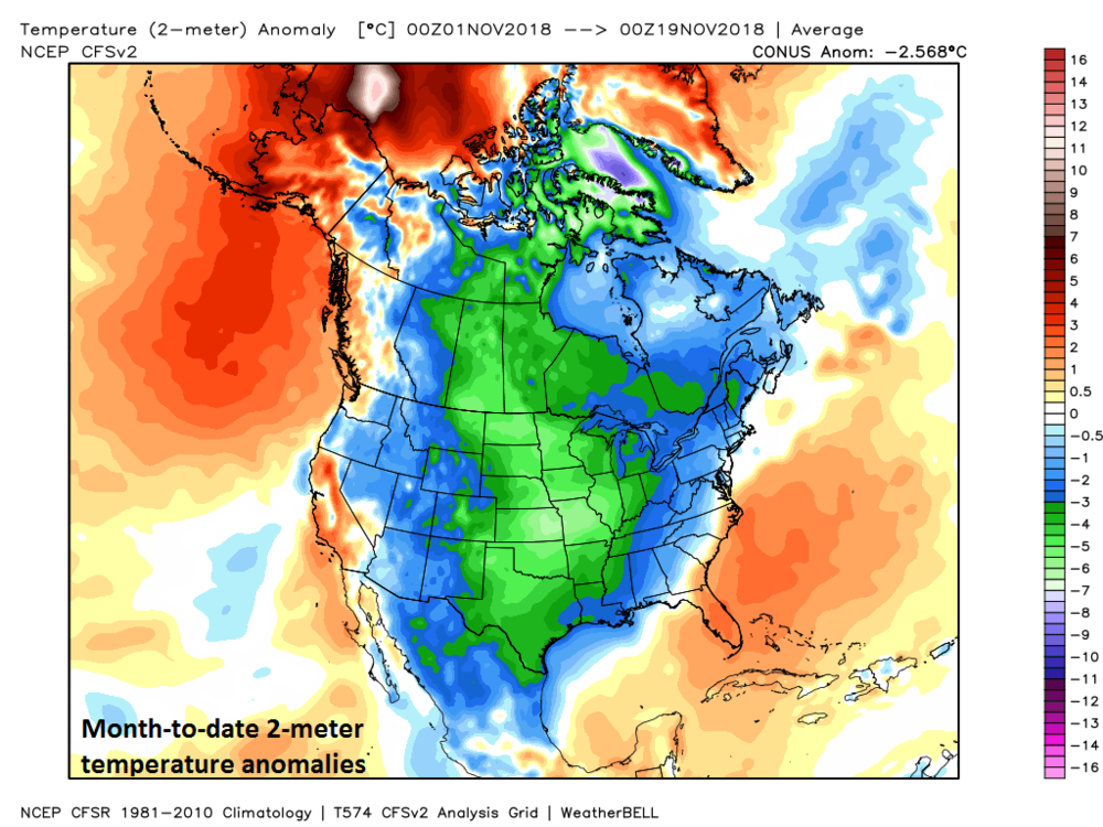 The month of November so far has been well below-normal in temperatures across most of the US and Canada and this looks like another colder-than-normal week in much of the same area; courtesy Weather Bell Analytics, NOAA