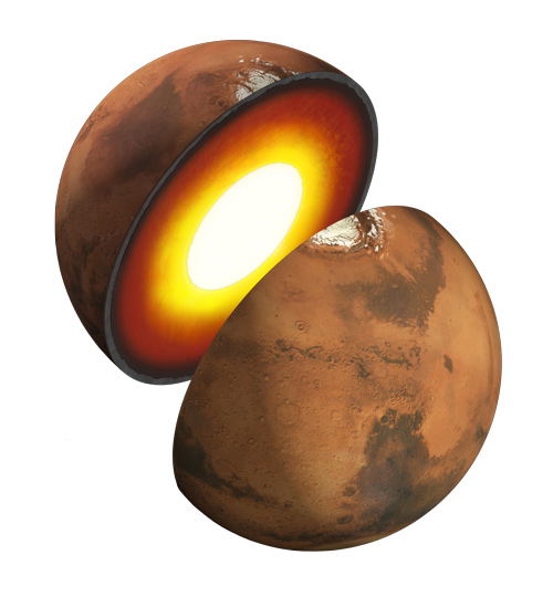 Mars' Interior:  Artist's rendition showing the inner structure of Mars. The topmost layer is known as the crust, underneath it is the mantle, which rests on a solid inner core. Courtesy NASA
