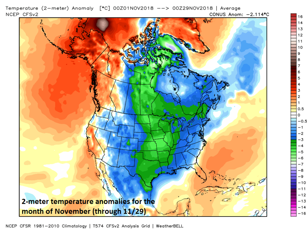 The month of November has been colder-than-normal across much of Canada and the US; map courtesy Weather Bell Analytics at  weatherbell.com