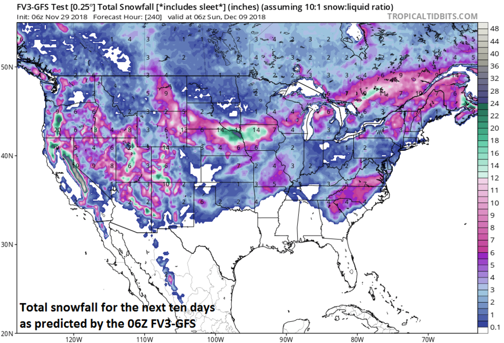 Widespread accumulating snow is predicted across the US during the next ten days; courtesy NOAA/EMC, tropicaltidbits.com