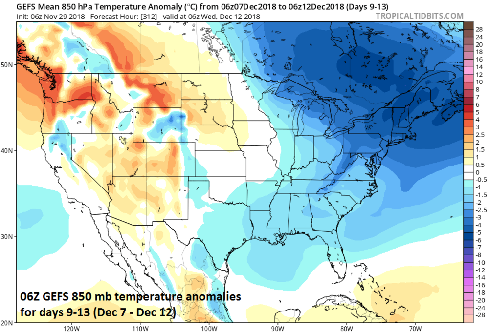 Colder-than-normal conditions expected during days 9-13 across much of the eastern half of the nation while the western states return to near normal; courtesy NOAA/EMC, tropicaltidbits.com