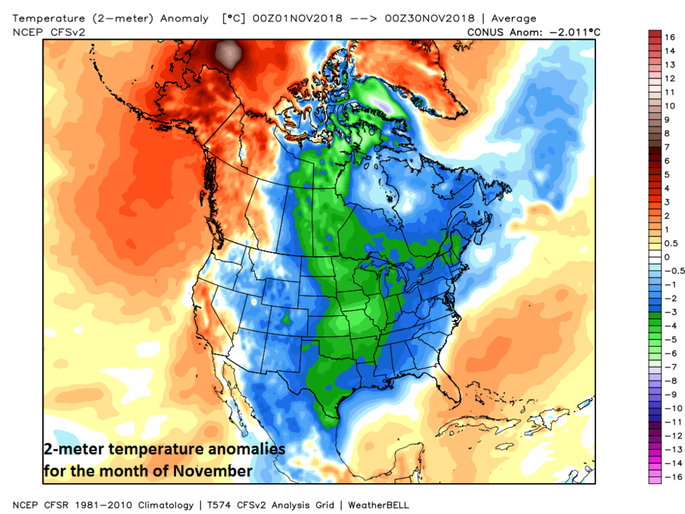 2-meter temperature anomalies for the month of November with colder-than-normal conditions (blue, green) extending from Mexico-to-Canada; map courtesy Weather Bell Analytics at  weatherbell.com , NOAA