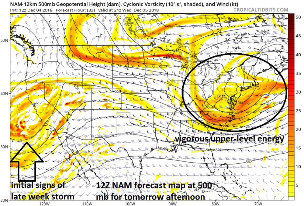 12Z NAM forecast map at 500 mb for tomorrow afternoon with a vigorous wave of energy in the atmosphere over the Mid-Atlantic region; courtesy NOAA, tropicaltidbits.com