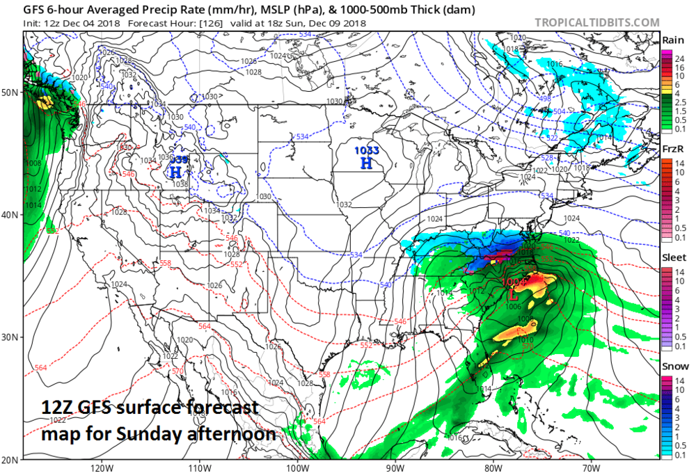 12Z NAM surface forecast map for Sunday afternoon with a strong surface low over the Carolina coastline; courtesy NOAA, tropicaltidbits.com