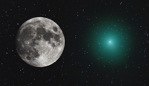 Mike Broussard of Perry, Louisiana, photographed the comet on Dec. 2nd and inserted the full moon for scale (courtesy spaceweather.com)