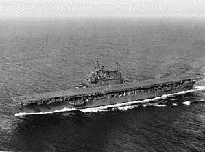Aerial view of USS Enterprise at sea in 1945 (courtesy Wikipedia)