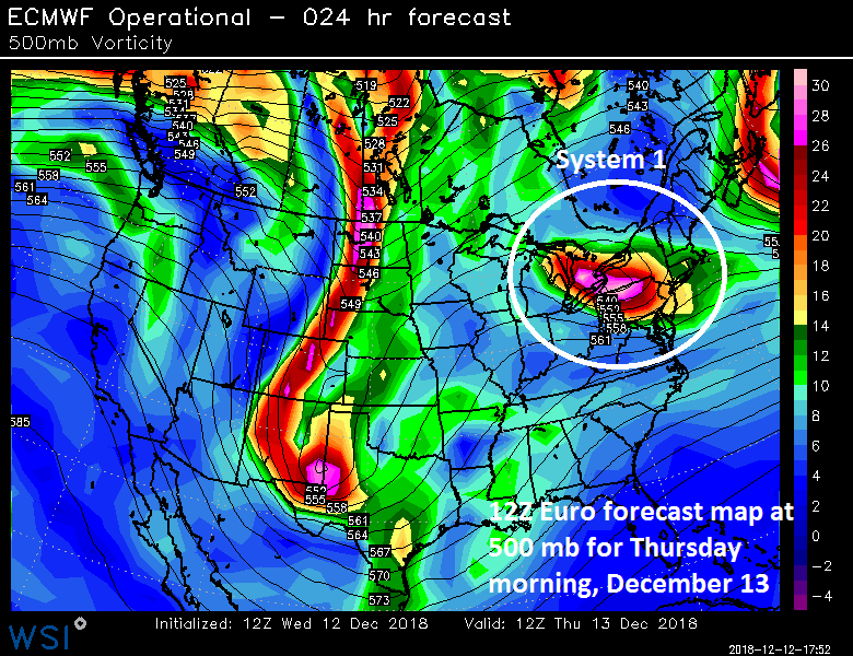 12Z Euro forecast map for Thursday morning with a strong wave of energy over the eastern Great Lakes/Northeast US; courtesy ECMWF, WSI, Inc.