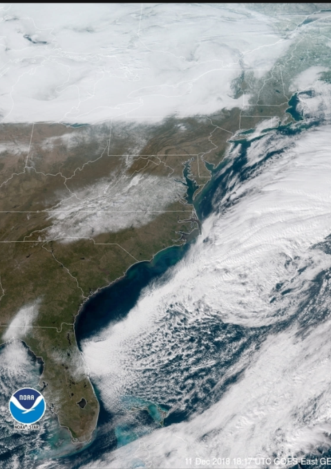 GOES-East satellite image revealing the deep snow pack over Virginia and North Carolina (clouds are seen off the east coast and over the Great Lakes); courtesy NOAA