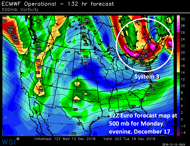 12Z Euro forecast map for Monday evening with a strong wave of energy over New England; courtesy ECMWF, WSI, Inc.