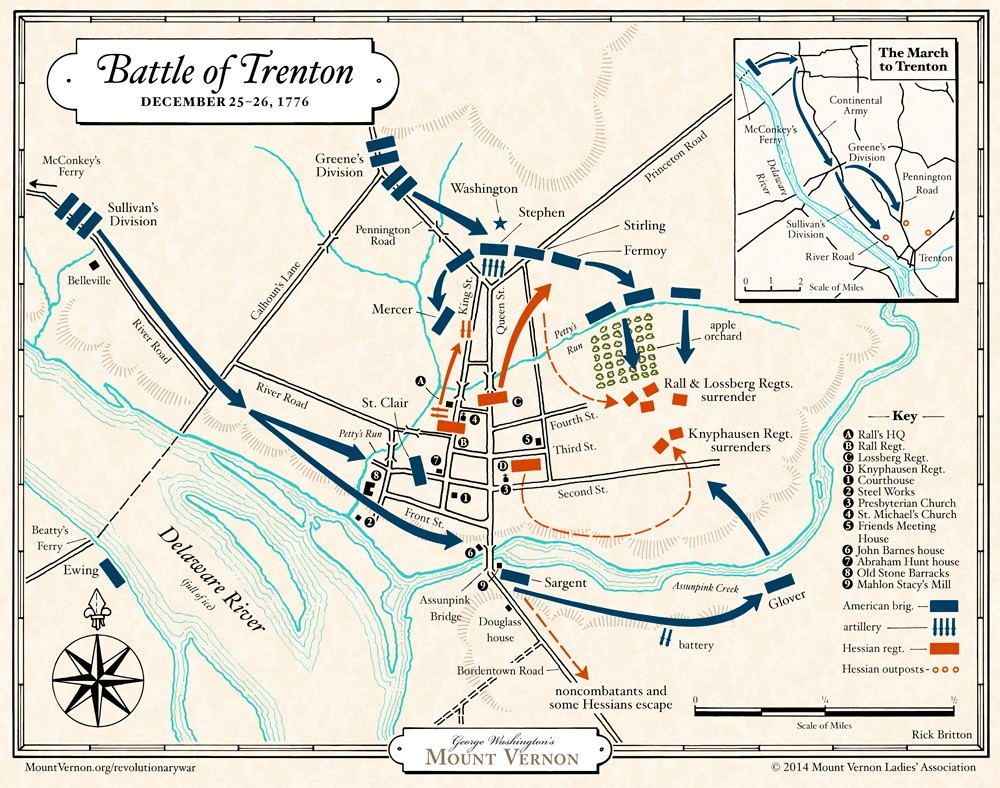 "Detailed planning map of the ""Battle of Trenton"", December 25-26, 1776. (Map courtesy Mount Vernon Ladies Association)"