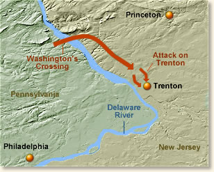 """Map of the Philadelphia and Trenton regions with the Delaware River location of """"Washington's Crossing""""."""