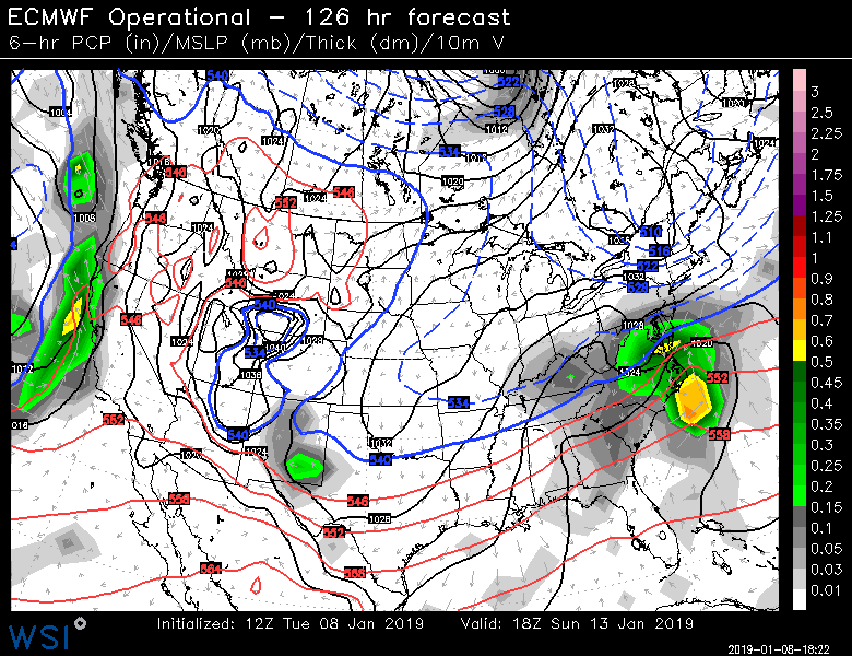 12Z Euro is a bit more  bullish  today on snow prospects for the weekend in the Mid-Atlantic compared to its most recent model runs; map courtesy WSI, Inc., ECMWF