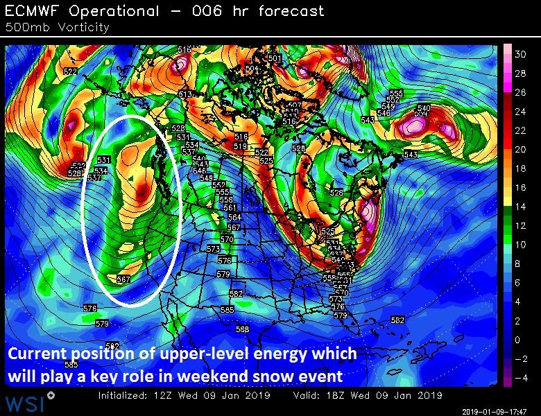 12Z Euro model analysis at 500 mb with upper-level energy (circled) that will play a key role in the weekend snow event for the Mid-Atlantic region; courtesy WSI, Inc., ECMWF