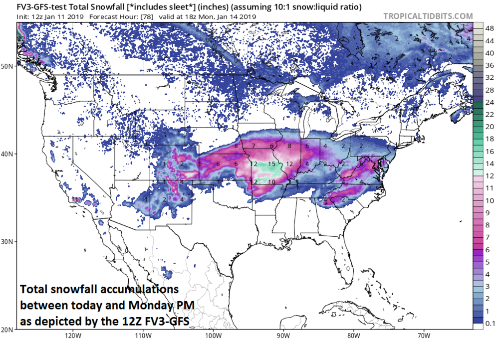1230 Pm Friday Weekend Accumulating Snow For The Mid Atlantic - Map-of-us-snowfall