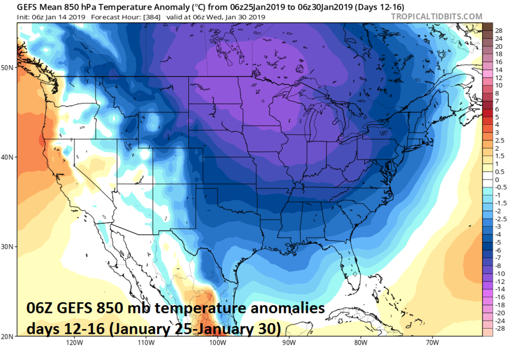 06Z GEFS forecast map of 850 mb temperature anomalies averaged over 5-day periods with days 12-16 (right); courtesy NOAA/EMC, tropicaltidbits.com