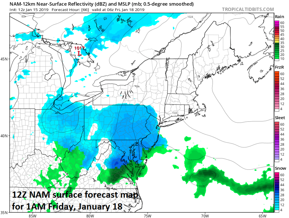 12Z NAM shows a lot of blue (i.e., snow) in the Mid-Atlantic region in the wee hours of the morning on Friday; courtesy NOAA, tropicaltidbits.com