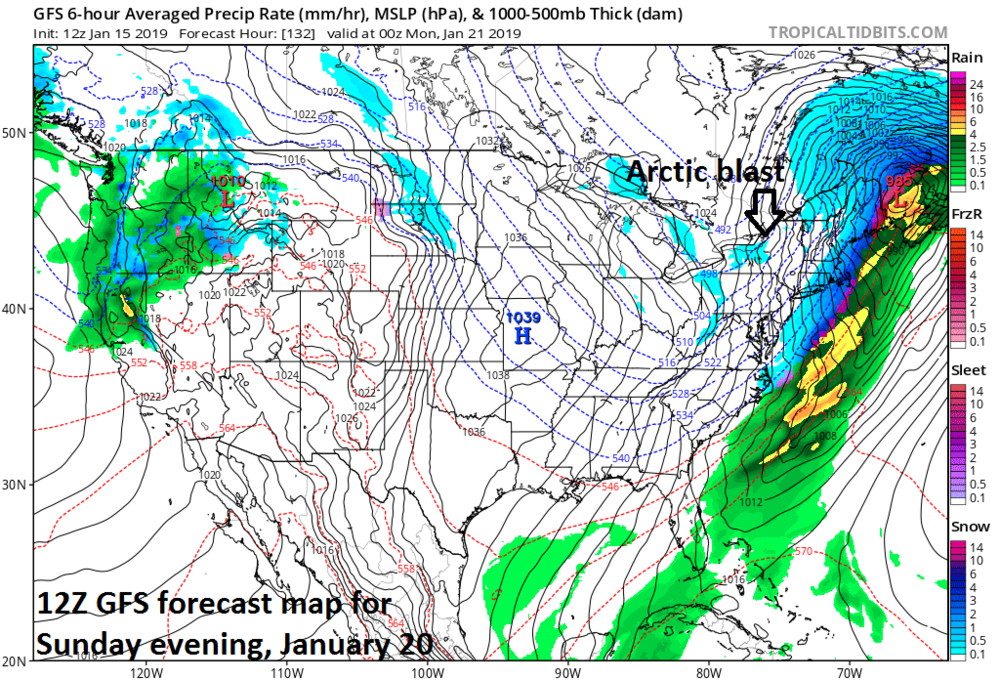 12Z GFS forecast map for Sunday evening features very cold air pouring into the Mid-Atlantic region on the back side of the weekend storm; courtesy NOAA, tropicaltidbits.com