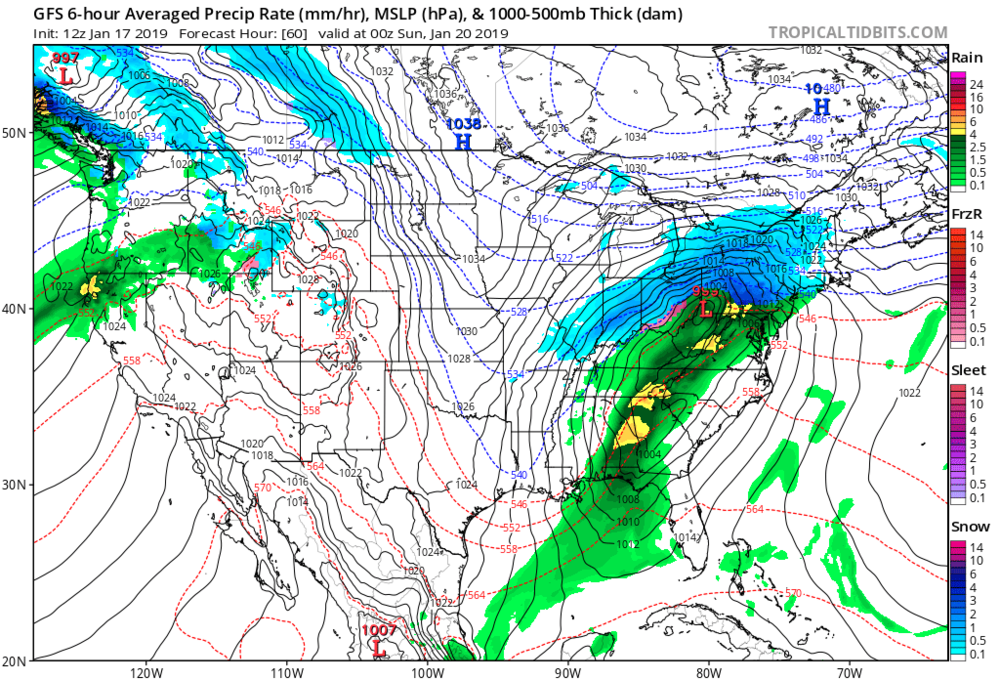 12Z GFS forecast map for Saturday evening with high pressure over SE Canada and low pressure over West Virginia courtesy NOAA/EMC, tropicaltidbits.com
