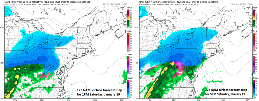 Progression of the storm on Saturday as depicted by the 12Z NAM model; courtesy NOAA/ tropicaltidbits.com