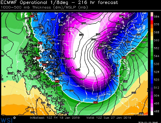 12Z Euro forecast map of 100-500 mb thickness for January 27th…wow; courtesy WSI, Inc., ECMWF
